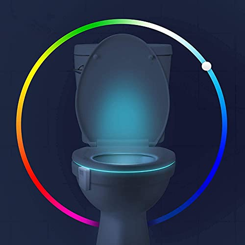Aomofun Rechargable Toilet Night Light, 16 Color Changing LED Nightlight with Motion Activated Sensor, Cool Fun Gadgets Decorating Bathroom for Teen Boy Men Fathers Day - Gag Stocking Stuffers