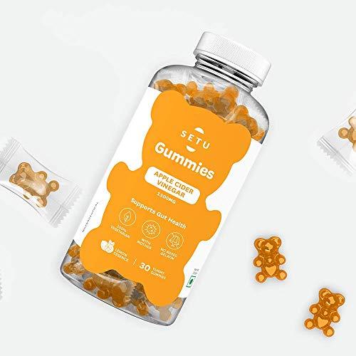 Setu Apple Cider Vinegar Gummies – Help Detox & Boost Digestive Health – Contain ACV With Mother – 100% Veg – No Gelatin – Yummy Lemon Flavour – 30 Gummies