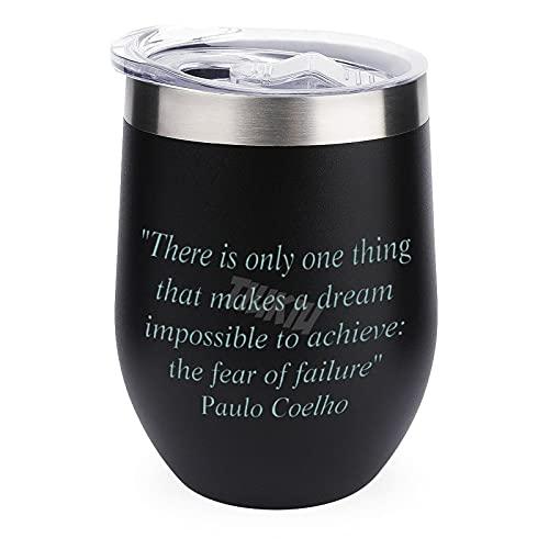 Vaso de viaje para café, vino, cócteles, tapa de helado para acampar al aire libre, taza de vino con cita Paulo Coelho 12 oz Copa de vino con tapa
