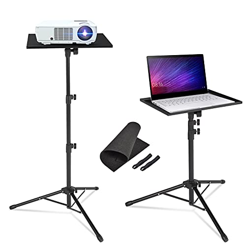 AkTop Pro Laptop Projector Tripod Stand, Universal Laptop Floor Stand Adjustable Tall 23 to 46 Inch, Foldable Computer DJ Equipment Holder Mount, Perfect for Stage or Studio with Portable Travel Bag
