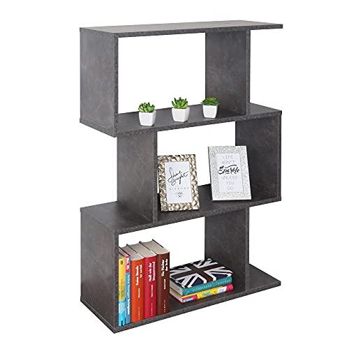 RICOO WM072-BG Estantería 97 x 70 x 25 cm Estante Librería Moderna Biblioteca Muebles de hogar Mueble almacenaje 3 Niveles Color Madera Gris