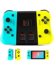 Etpark Joy Con Controller Compatible with Nintendo Switch, Wireless Controller Compatible with Switch Lite, Controller Replacement Compatible with Switch Joy Pad, Dual Shock, Blue and Yellow with Grip