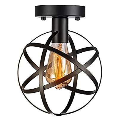 Pynsseu Industrial Retro Style Semi-Flush Mount Ceiling Light, Vintage Metal Spherical Ceiling Lighting Fixture for Kitchen Hallway Porch Bedroom 1 Pack