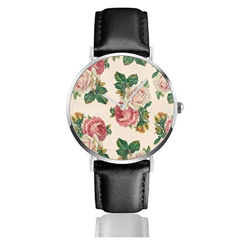 Reloj de pulsera minimalista para mujer, reloj de pulsera de cuarzo, estilo rústico, rosa, rosa, rosa, rosa, rosa, correa de cuero