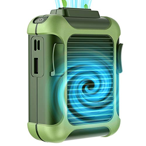Simpeak Ventilador Portátil, Ventilador De Clip De Cintura Portátil,también Banco de energía portátil de 4000mah Al Aire Libre Mano Ventilador para Trabajo Aire Libre/Hogar/Viaje, Verde