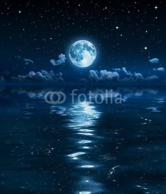 AluminiumDibond image 40 x 50 cm   super moon and clouds in the night on sea , image on a AluminiumDibond