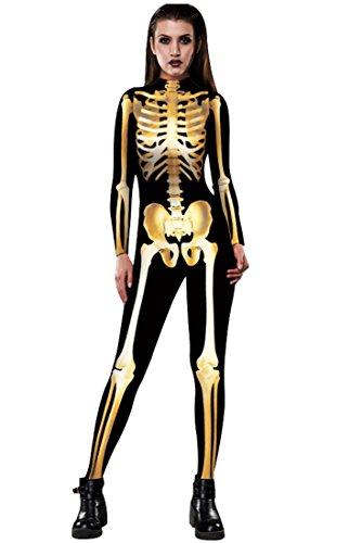 URVIP Skelett Overall Damen Knochen Skeleton Halloween Kostüm Bodysuit Anzug Karneval Fasching BAX-007 XL