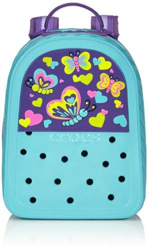 Crocs Textil Lights BP Butterfly 35136-4X0-000 Damen Rucksackhandtaschen 8x25x19 cm (B x H x T), Blau (Aqua/Neon Purple)