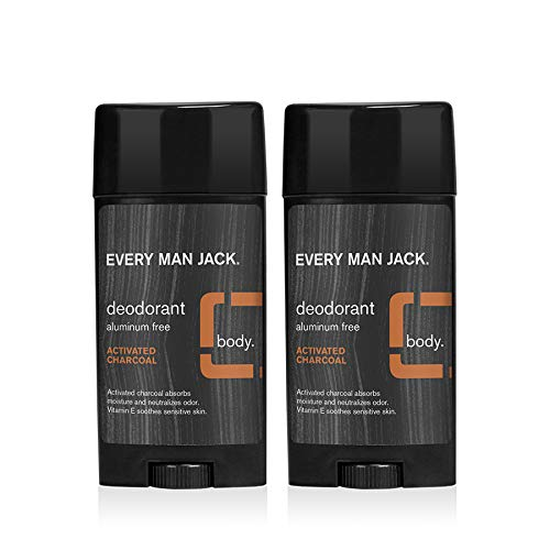 Every Man Jack Deodorant - Activated Charcoal | 2.7-ounce Twin Pack - 2 Sticks Included | Naturally Derived, Aluminum Free, Parabens-free, Pthalate-free, Dye-free, and Certified Cruelty Free