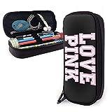 antvinoler Pen Bag/Victoria Secret Love Pink Leather Stationery Bag Pencil Case Makeup Box Office Pen Storage Bag Pouch Cosmetic Bag Leather