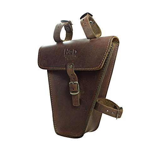 Hide & Drink, Rustic Leather Triangular Frame Bag for Bicycle, Bike Tool Pouch, Accessories, Repair Tools Storage Pouch, Biker Essentials, Handmade Includes 101 Year Warranty :: Bourbon Brown