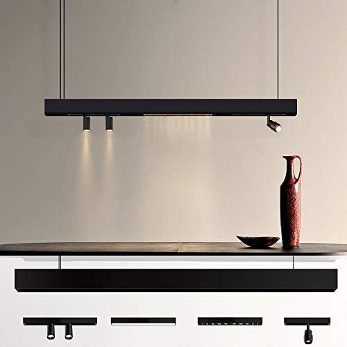 ZMH LED Pendelleuchte esstisch Hängelampe mit neue Magnetisch Design in Schienensystem Deckenleuchte Höhenverstellbar für Büro lange Esstisch Deckenbeleuchtung (nur Stromschiene)