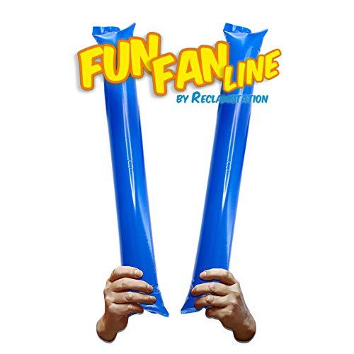 FUN FAN LINE - Pack 10 Pares de Aplaudidores hinchables de plástico. Accesorios ruidosos para Fiestas y animación Deportiva. Palos de Estadio Reutilizables. (Azul, 10)