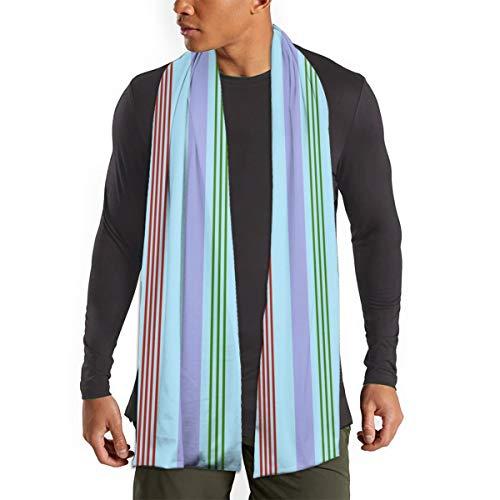 Sciarpa lunga a righe colorate, modello verticale, super morbida, alla moda, leggera, per donne e uomini