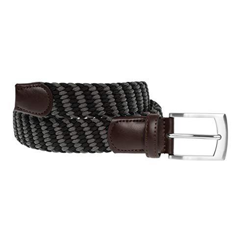 LUUK LIFESTYLE Hochwertiger, elastischer, geflochtener Stretch-Gürtel mit echtem Premium Vollrindleder, Flechtgürtel, Stoffgürtel für Damen und Herren, Geschenkbox, schwarz/grau, 115 cm