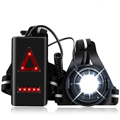 BACKTURE Luz del Pecho, Luz para Correr, Luz Frontal Correr Running Recargable USB 3 Modos IPX4 Impermeable de Luz LED para Caminar, Acampadas, Correr, Pesca, Ciclismo