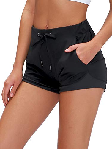 "Lavento Women's Workout Shorts Lightweight Active 3"" Running Shorts (4, 3"" Black)"