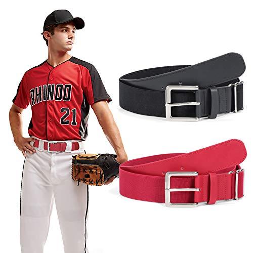 2 Pack Adult Baseball Uniform Belts for Men, SUOSDEY Sport Softball Elastic Adjustable Belt 1.5-Inch Wide,black and red