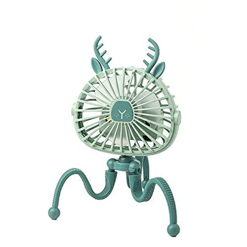 Mini ventilador de escritorio, ventilador USB para cochecito de bebé de 1500 mAh, recargable, soporte de pulpo ajustable, ventilador de mesa para estudiantes, oficina, hogar, color verde, ciervo