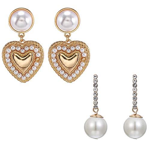WANZIJING Pendientes de Cristal simulado Perla, cuelga los Pendientes Elegante Declaración de la aleación tachona los Pendientes del corazón de la Mujer