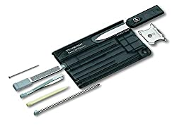 9 functions: Letter opener, stainless steel pin, nail file, screwdriver, toothpick, ballpoint pen, ruler, quadruple screwdriver & tweezers The Victorinox Swisscard Quattro is designed in the shape of a credit card so you can carry it in your wallet, ...