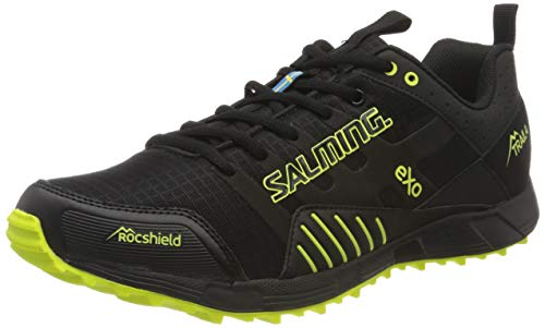 Salming Trail T4 Herren-Schwarz, Gelb Laufschuhe Trailschuh, Black/Safety Yellow, 47 1/3 EU