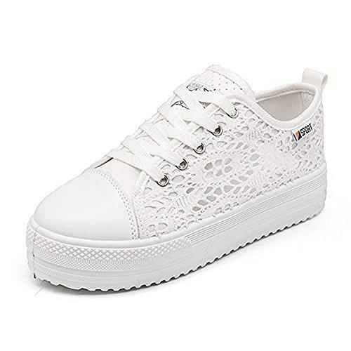 Minetom Damen Mädchen Mode Freizeit Studenten Segeltuchschuhe Plattform Schuhe Schnüren Atmungsaktiv Sport Schuhe Spitzen Up Plateauschuhe Weiß EU 38