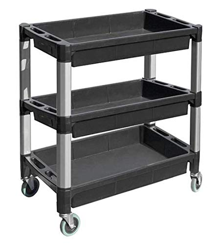 MaxWorks 80873 3-Tray Service Utility Cart With Aluminum Legs & Wheels,Black and Gray,3 trays