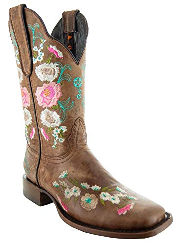 Soto Boots Women's Jasmine Floral Square Toe Cowgirl Boots M50043 (Tan,7 B(M) US)