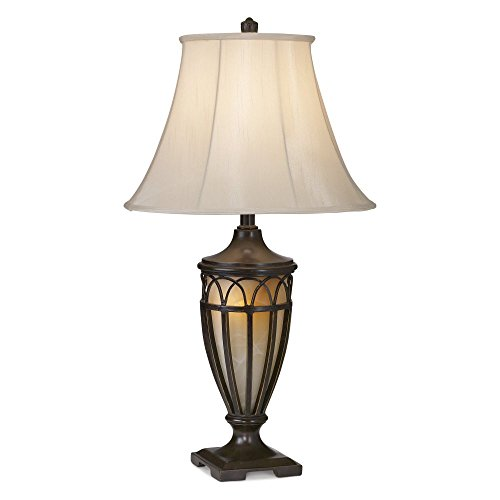 Pacific Coast Lighting 87-1255-20 Lexington 1-Light Table Lamp, Florida Bronze with Gold Finish with Beige Silk Fabric Shade, 17