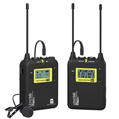 Sistema de micrófono Lavalier inalámbrico, LENSGO LWM-328C Micrófono de solapa inalámbrico omnidireccional profesional UHF de 99 canales con 1 transmisor y 1 receptor para DSLR Camera Smartphone