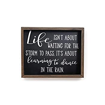 Adeco Wood Plaque Sign for Home Decor Dance In The Rain Black Wall Hanging Decoration Art Family Decor Plaques - Living Room Bedroom Kitchen Gift