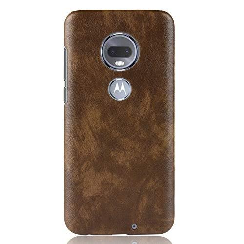 Zl one compatível com/substituição para Motorola Moto G7/G7 Plus capa traseira de couro PU (marrom)