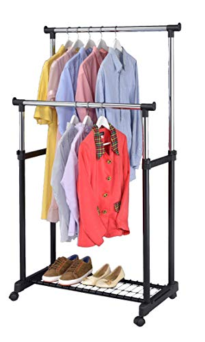 Finnhomy Rolling Clothes Rack Garment Rack with Wheels Rolling Clothing Rack Double Rail Clothes Rack Chrome