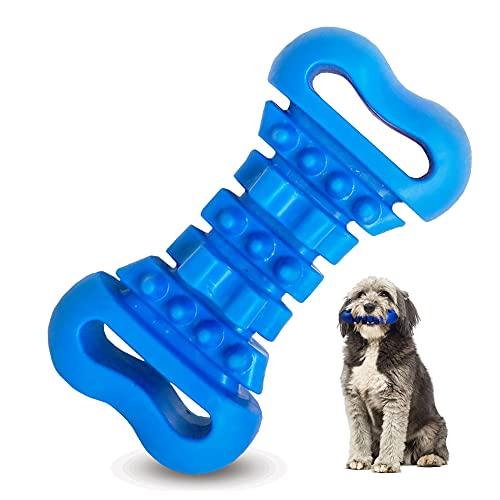 Juguete para morder Perros, Juguete para Perros Indestructible,Juguetes interactivos Perros,Juguetes Morder Perros Hueso,Productos Perros,Juguete Perro Mordedor,Juguete Perro Pequeño (Azul)