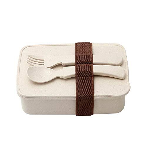 JIAXIAOYAN De una sola capa de paja de trigo Fiambrera, con poco carbono ecológico mini-sellado Fiambrera pequeña, Microondas-calentado caja de almuerzo - Tenedor Cuchara para adultos de los niños Esc