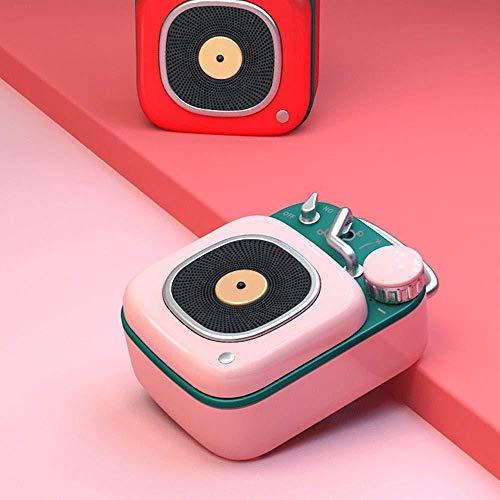 YPSMLYY Tragbarer Retro-Funklautsprecher Creative BT Bluetooth-Lautsprecher Im Atomic-Plattenspieler-Stil Mini-Subwoofer-Musik-Player,Pink