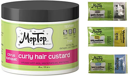 MopTop Curly Hair Custard Gel for Fine, Thick, Wavy, Curly & Kinky-Coily Natural hair, Anti...