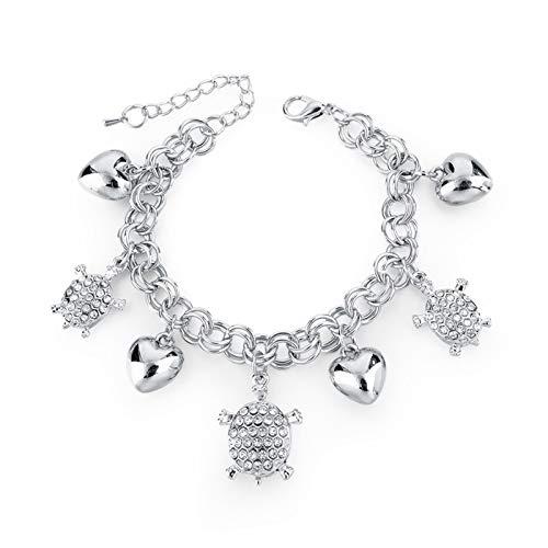 CLEARNICE Pulseras y brazaletes con Dije de corazón para Mujer, joyería de Plata, Cristal, Acero Inoxidable, Pulsera Ajustable, Longitud 20Cm