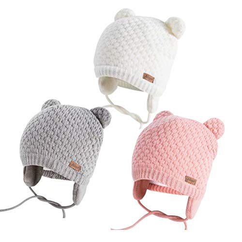 Winter Beanie Hat for Baby Kids Toddler Infant Newborn, Earflap Cute Warm Fleece Lind Knit Cap for Boys Girls (Gray&Pink&White)