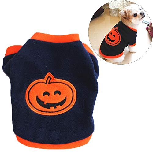JTYR Hund Halloween Dekoration Kostüm, Style Store Schwarz Orange Kürbis-Halloween-Haustier Hund Katze Fleece Pullover T-Shirt-Ausstattungs-Kostüm,L