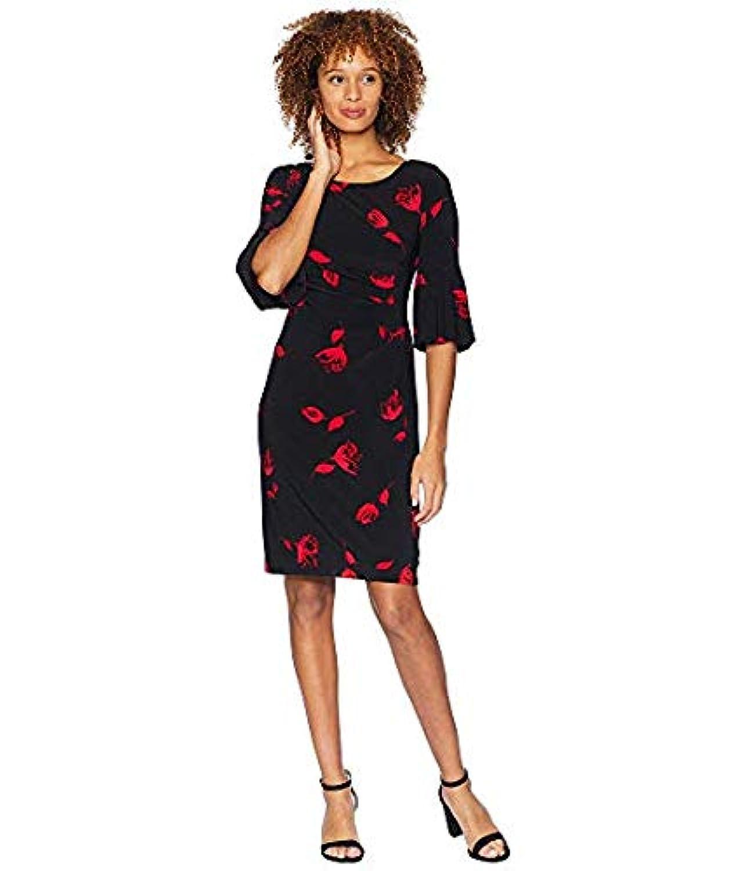 [LAUREN Ralph Lauren(ローレンラルフローレン)] レディースウェア?ジャケット等 Edzell Floral Matte Jersey Joelle 3/4 Sleeve Day Dress Black/Red/Multi US 0 (XXS) [並行輸入品]