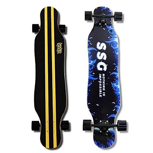 DINBIN 41 Inch Drop Through 8 Ply Maple Complete Longboards Skateboard Dancing,Cruising,Curving,Freeride Slide,Freestyle and Downhill Freestyle Cruiser for Teens or Adults