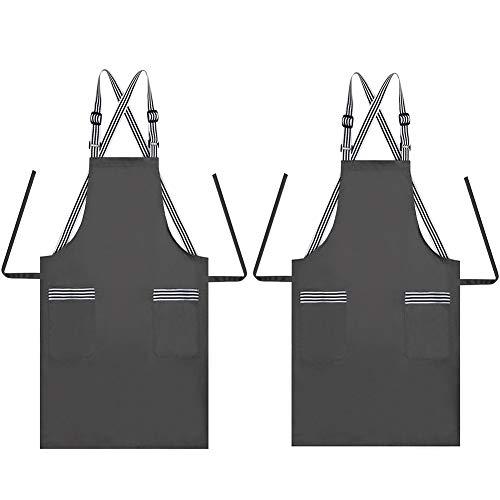 JSDing Küchenschürze Verstellbare Träger mit 2 Taschen, Lang Baumwolle Kochschürze Lätzchen Damen Männer für Haus, Restaurant, Kaffeehaus, Grill, Gartenarbeit, Reinigung