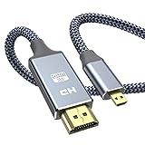 Micro HDMI - HDMI ケーブル 1.8m (マイクロタイプDオス - タイプAオス) 4K @60Hz ハイスピード マイクロHDMI HDMI ケーブル GoPro/テレビ/デジカメ/ビデオ/アクションカメラなどに対応 ナイロン編み保護