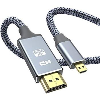 Micro HDMI - HDMI ケーブル 3m (マイクロタイプDオス - タイプAオス) 4K @60Hz ハイスピード マイクロHDMI HDMI ケーブル GoPro/テレビ/デジカメ/ビデオ/アクションカメラなどに対応 ナイロン編み保護