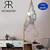 Nordic Creative Affe Deckenleuchte, Acryl Affe Hanf Seil LED Kronleuchter, Restaurant Schlafzimmer Studio geeignet, 72cm hoch, E27 (Zwei Güter)