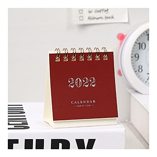 Calendario 2022 2022 Mini Calendario de Escritorio Creativo Lindo homoffice 365 días Calendario Kawaii Escritorio decoración de papelería Suministros Año académico en pie (Color : Wine Red)