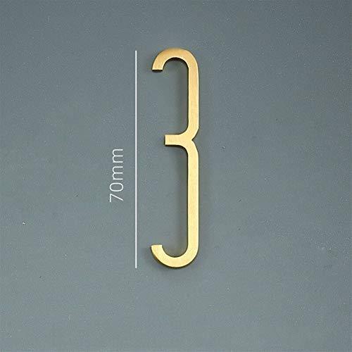ZXF Hausnummern Hausnummer Gold Messing Haustür Hausadresse Nummern für Haus Außenbereich Schild Plates Z1111, Number 3