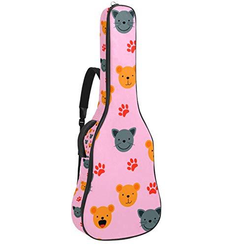 Cute Animal Faces Acústica Guitarra Caso Con Espuma Suave Acolchada,Doble Correa De Hombro Ajustable Guitarra Estuche Bolsa Mochila